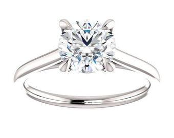 Forever One Moissanite Engagement Ring- Rebecca | round | 14K white gold moissanite solitaire engagement ring