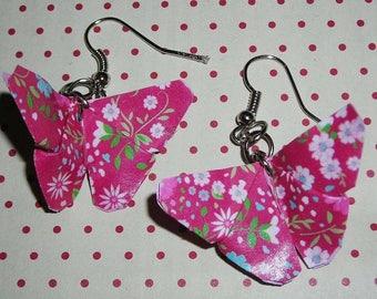 Pair of earrings Butterfly origami (origami earrings)