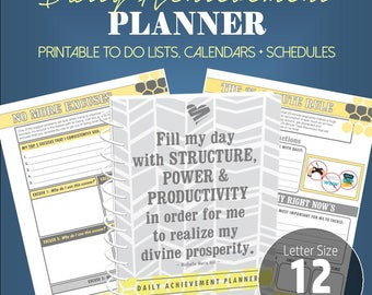 Daily Achievement Planner – Small Business Planner Printable, Lifestyle Planner, Life Planner, Success Planner, Printable Planner