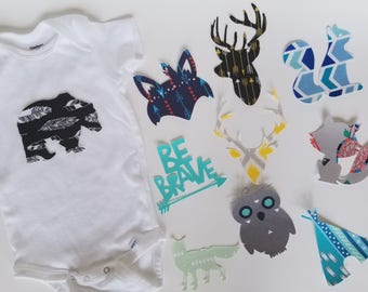 Baby boy Boho Tribal DIY iron on appliques for baby shower activity/game. Customize your order easily by messaging me