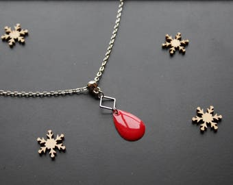 Fine silver necklace, red sequin drop pendant