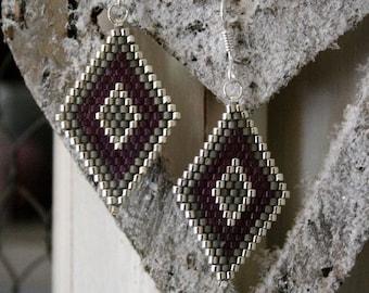 Earrings glass Miyuki beads silver grey and plum, 925 Silver hooks