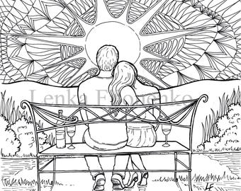 Sunset coloring page | Etsy