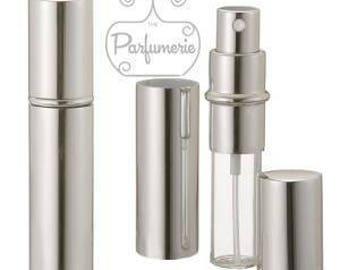 Case of 100: 12 ml. Silver SHINY METALLIC Sleek Spray Atomizer Perfume Cologne Refillable Travel Size Wholesale Bottle Empty