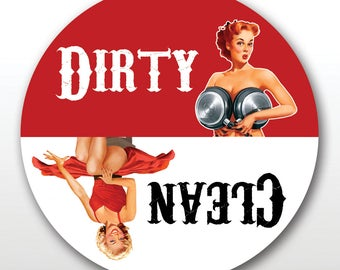 Dirty Girl Dish Washer Magnet - Clean & Dirty Indicator Magnet