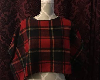 FP Red plaid poncho overcoat.