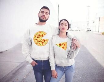 Pizza Couple Sweatshirt, Couple Sweatshirt Set, Pizza Sweatshirt, Couple Pullover, Couple Set, Couple Clothing, Pizza Crewneck, Couple Top