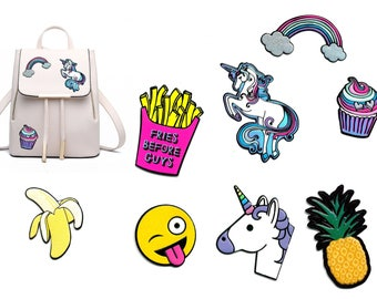 PU leather sticker for bags, jacket, backpack or other textiles-super grip-great colors and motifs-unicorn pineapple cupcake smiley