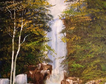 Beautiful Waterfall with Trees and Rocks