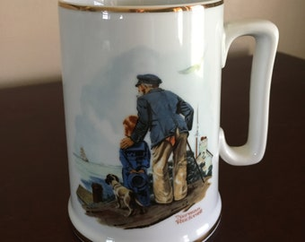 Norman Rockwell Museum Collector Mug 1985, Looking Out to Sea mug, Grandfather and Grandson by Norman Rockwell
