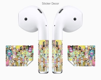 AirPods Stickers Rick and Morty, Regular Show, Cartoon, 2-Sets, Wraps, Skin, Cover, Decal