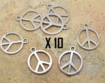 10 x charm peace and love peace love silver metal