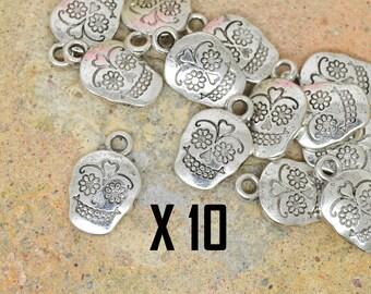 10 x skull charm skull Mexican silver