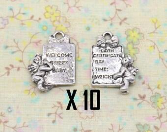 10 x 26mm silver plated birthstone baby Angel charm / 15mm