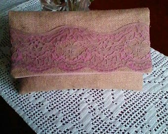 Pink burlap and lace pouch