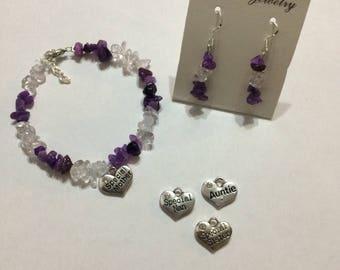 Amethyst and clear quartz set