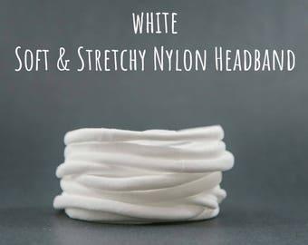 WHITE nylon headband, Elastic headband, Soft baby headband, Wholesale Spandex headband, Stretchy nylon headband, one size fits all headband
