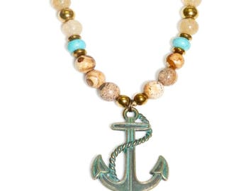 Anchor Necklace, Anchor pendant, Anchor, Long bead necklace, Long necklace, Beaded necklace, Nautical necklace, Necklace gift, Nautical gift