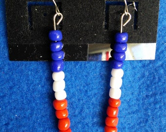 Red, white and blue beaded earrings
