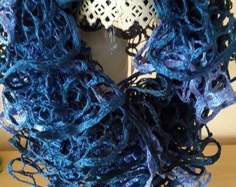 Dark blue knit scarf