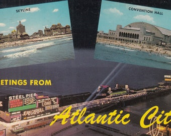 Atlantic City, New Jersey Vintage Postcard - Greetings from Atlantic City, New Jersey Resort, New Jersey Gambling, Steel Pier