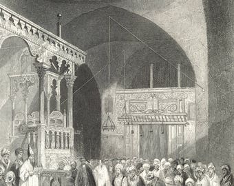 Synagogue of the Jews, Jerusalem, Palestine 1840 - Old Antique Vintage Engraving Art Print - Chandelier, Speech, Priest, Religious, Altar