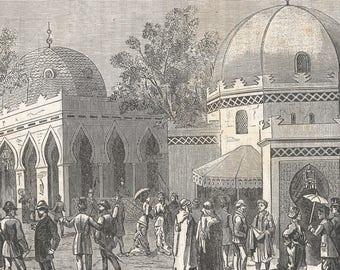 Algeria 1878, The street of Algeria, In Trocadero Park, Old Antique Vintage Engraving Art Print, Men, Women, Gathering, Crowd, Talking