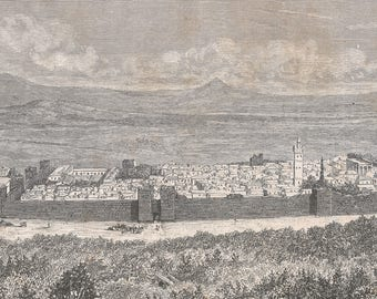 Algeria 1880, General view of Tebessa, taken on the east side Solomon Gate, Old Antique Vintage Engraving Art Print, Building, Town