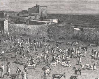 Somalia 1885, The Hamarhouine Market, Old Antique Vintage Engraving Art Print, Man, Woman, Animal, Cow, Donkey, Goat, Market, Vendor, Sit