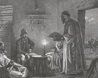 Algeria 1889, Great Dinner at Tahar Ben Zekri, Old Antique Vintage Engraving Art Print, Man, Arab, European, Candle, Sitting, Interior