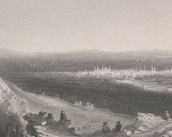 Syria 1836, Damascus, Distant View From the Mountain Side, Old Antique Vintage Engraving Art Print, City, Forest, Tree, Monument, Dome, Man