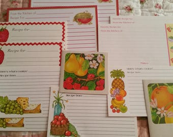 Vintage Recipe Cards Collection ~ 70's Current Assorted Fruit Theme 12 Piece Set ~ Cooking Journals ~ Recipe Box