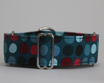 """Greyhound Teal and Dots 1.5"""" Martingale Collar **New Sizing**"""