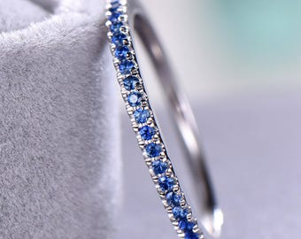 Lab Blue Sapphire Wedding Band White Gold 925 Sterling Silver Half Eternity Micro Pave Bridal Matching Band Stacking Ring Anniversary Gift