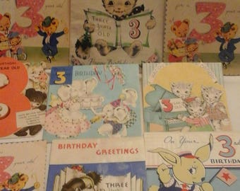 Vintage  3rd birthday  greeting  cards