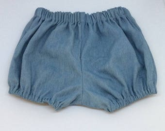 Baby bloomers-Chambray bloomers-Blue bloomers-3-6 months Bloomers-Summer baby bloomers