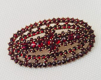 Vintage Rose Cut Red Garnet & Gold Plated Silver Oval Design Brooch  Great for BOHEMIAN VICTORIAN or STEAMPUNK Looks!