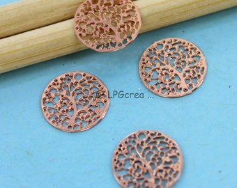 "4 prints ""Connectors tree"" - pink - 12mm diameter copper # F64"