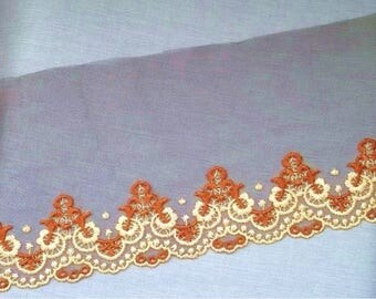 Brown embroidered tulle 140mm X 1.15 m