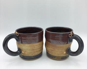 Ceramic Stoneware Mugs for two, Coffee Cups, Hand Made Pottery, Unique Gift