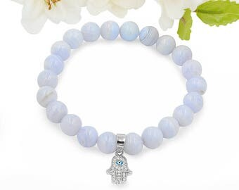 Natural Gemstone Blue Lace Agate Bead  Bracelet 925 Sterling Hamsa Hand Charm
