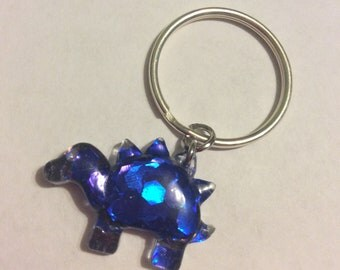 Tiny Blue Dino Holographic Keychain