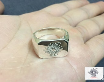 Coat Of Arms Family Crest Ring, Crest Engrave Ring, Personalized Ring, Signet Ring