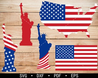 USA Map Clipart, America Flag svg, Statue of Liberty svg, cricut, silhouette cut files commercial use