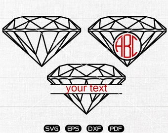 Diamond Svg, Diamond Clipart, Monogram Frame cricut, cameo, silhouette cut files commercial & personal use