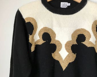Vintage 80s gold, black, and white sweater