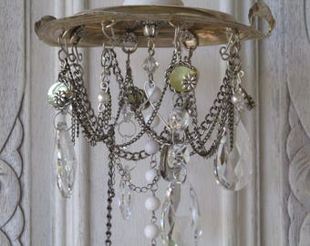 Upcycled silver dish, Shells,Crystal pendant, Glass beads, Chain, Hearts, 20 Inches long. UpcycledKreations