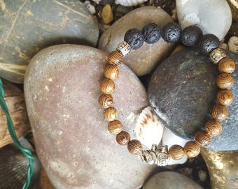 Essential oil diffusing bracelet with choice of round gemstone & lava stone center