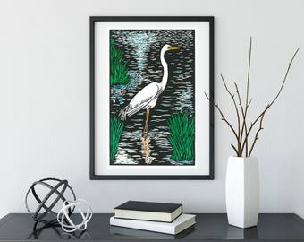 Lino print~ Australian art~Birds~ Hand coloured~ Original print ~Eastern Great Egret ~Printmaking~ Block printing~ 30 cm x 19cm ~ Peace /