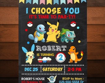 I Choose You Pokemon Birthday Invitation, Pokemon Invitation, Printable, Pokemon Party, Boy Birthday Party, Kids Birthday, Chalkboard